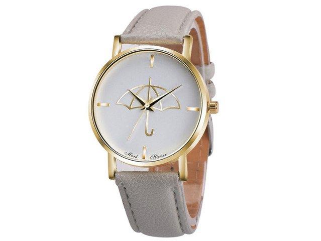 Zegarek PARASOLKA Złoty PASEK GENEVA DAMSKI